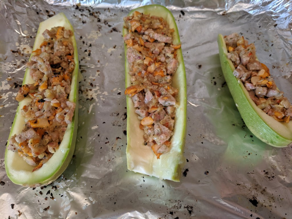 pork and chanterelle stuffed zucchini ready for the oven