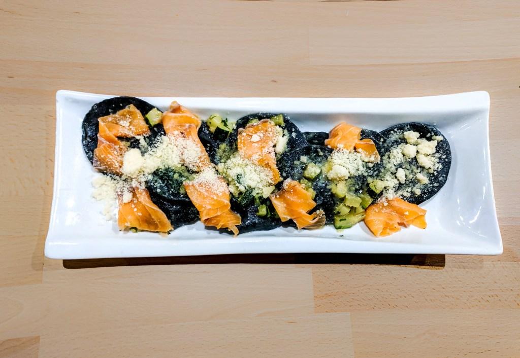 Pumpkin Ravioli with Sauteed Zucchini and Smoked Salmon