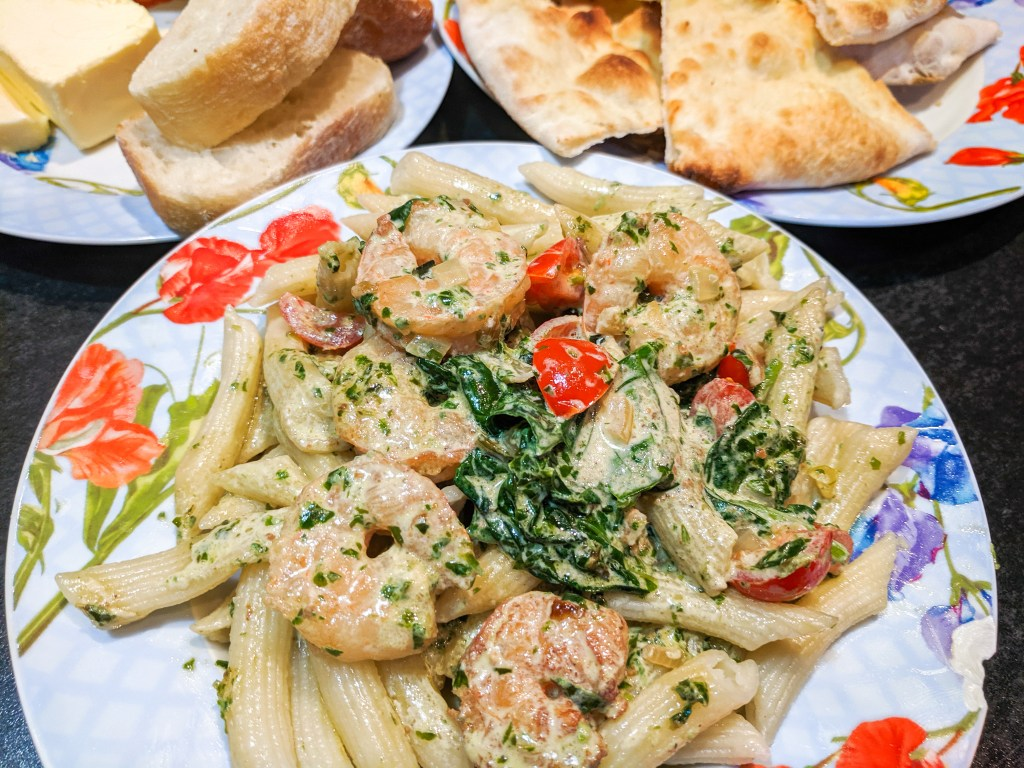 shrimp and spinach penne