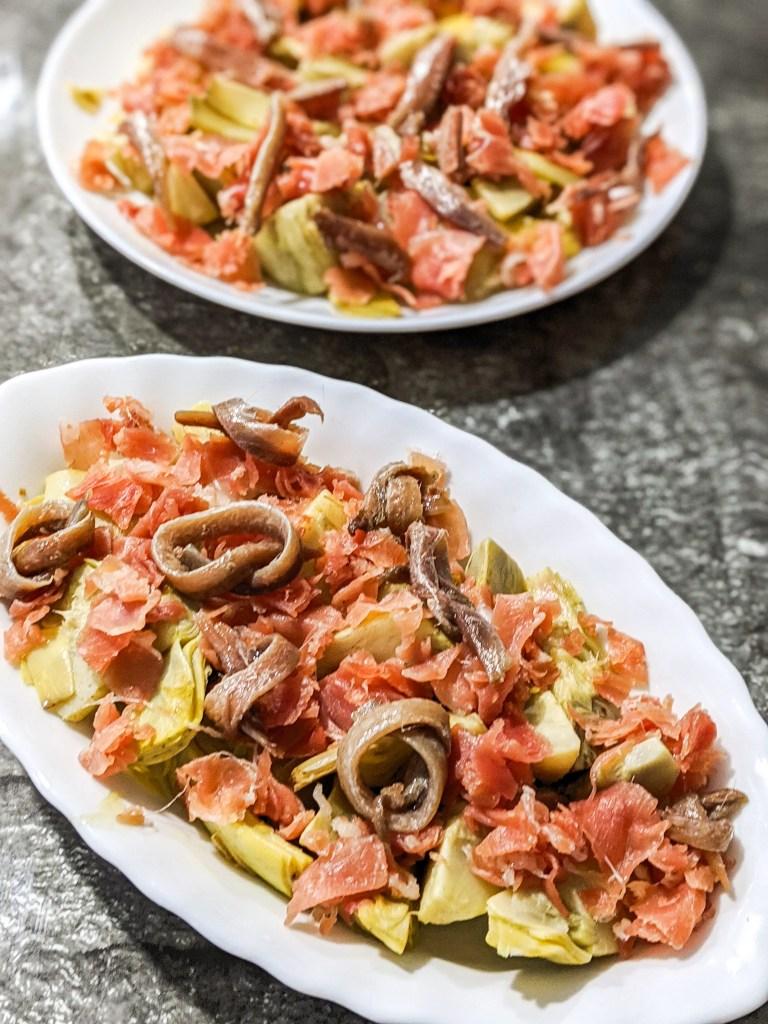 artichoke with anchovies tapas salad