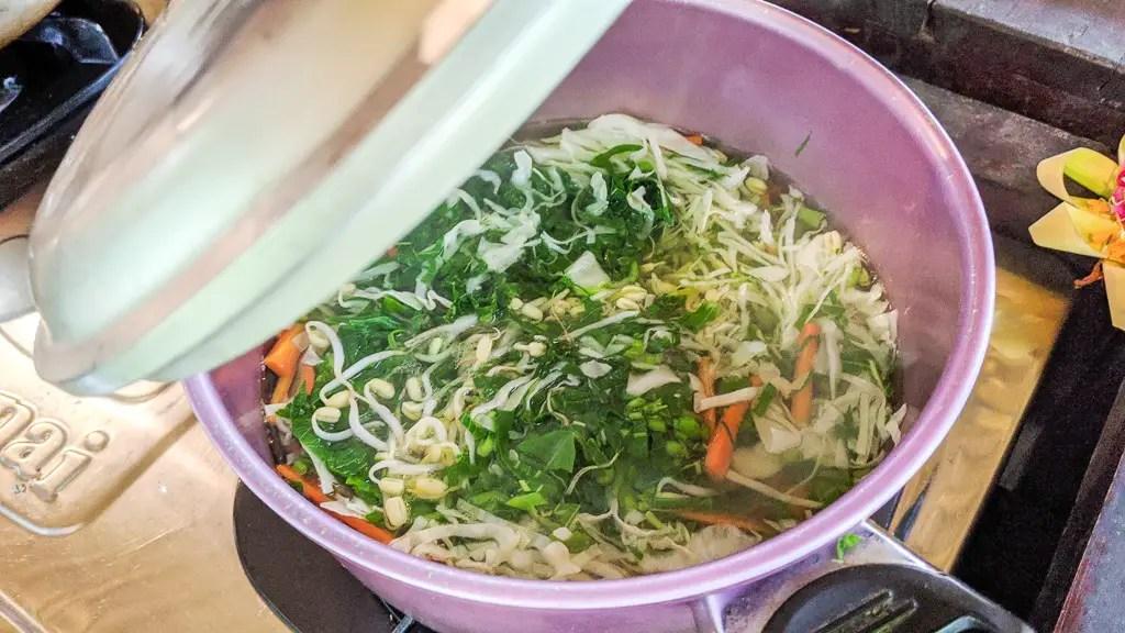 boiling vegetables for sayur urab