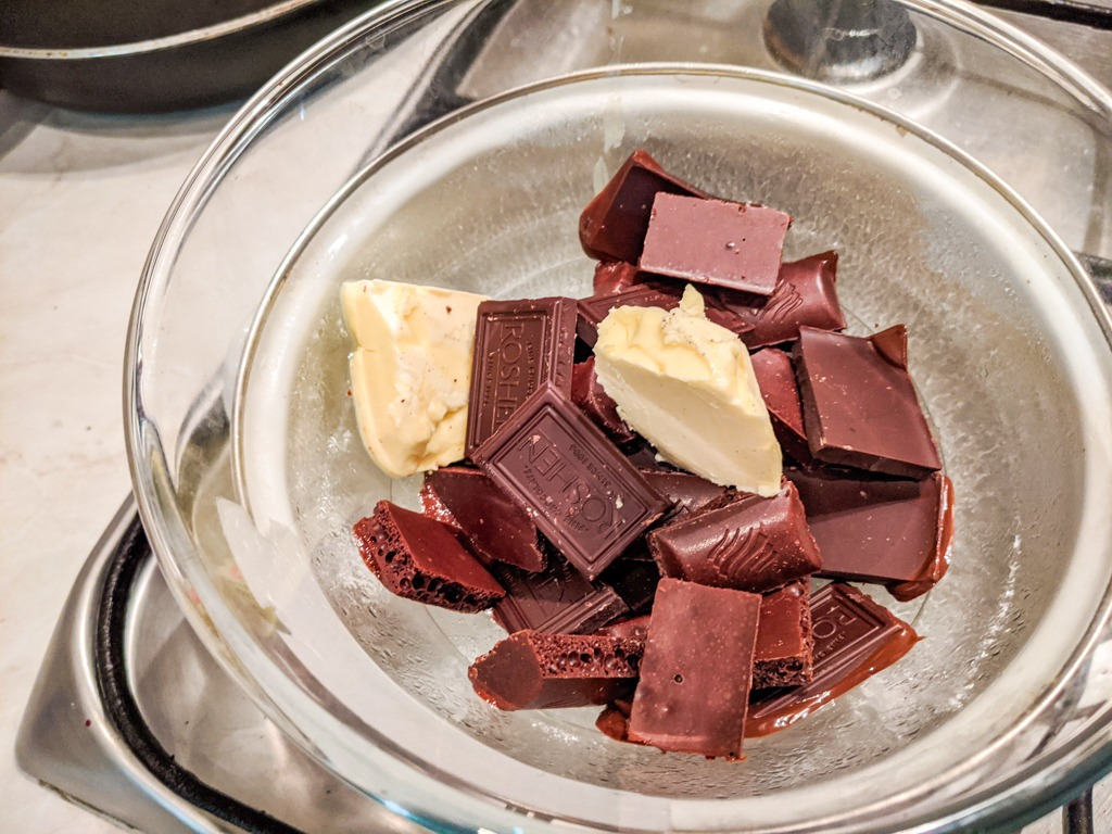 melting the chocolate and the butter for the chocolate mousse