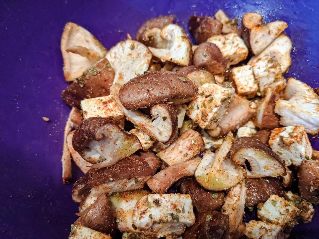 seasoned feta and mushrooms