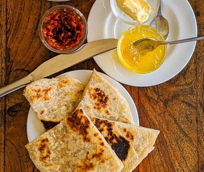 sri lankan roti breakfast plate