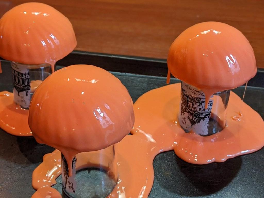 just glazed mango passionfruit entremet cakes