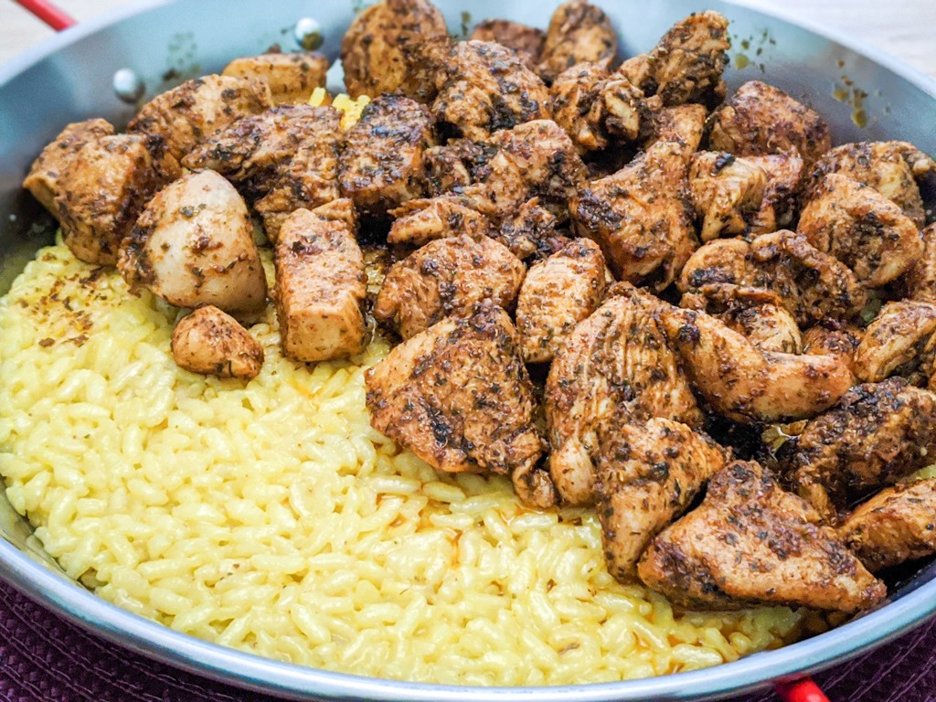Khmeli Suneli seasoning on chicken with a saffron rice plate recipe