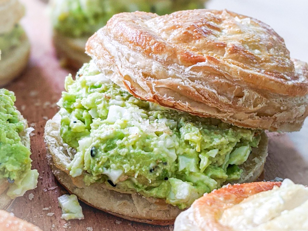 Avocado Egg Salad Sandwich with a puff pastry biscuit