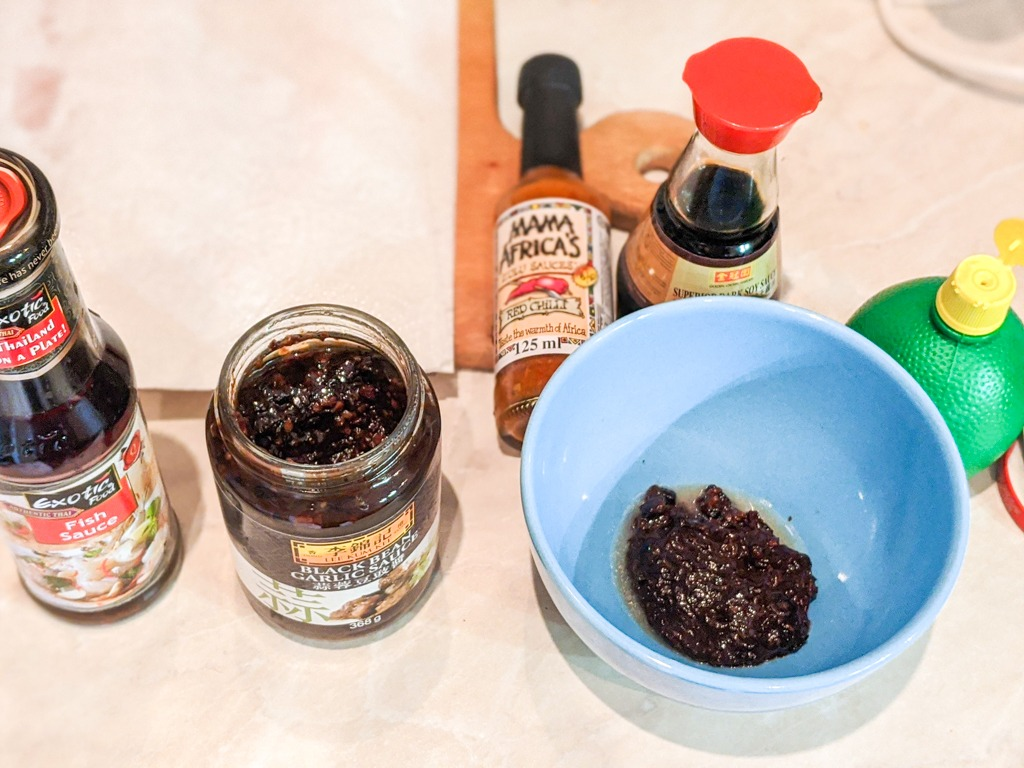 black bean salmon ingredients: black bean sauce, fish sauce, african pepper sauce, lime juice.
