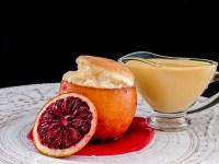 blood orange cointreau souffle with blood orange creme anglaise