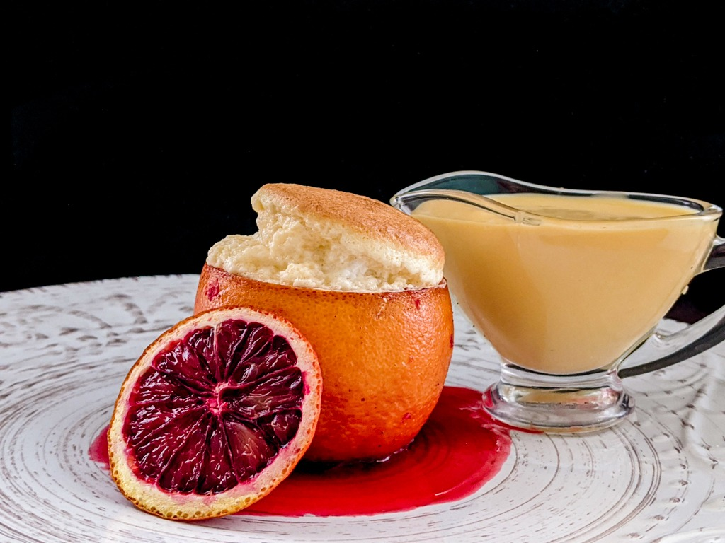 blood orange cointreau souffle with blood orange creme anglaise