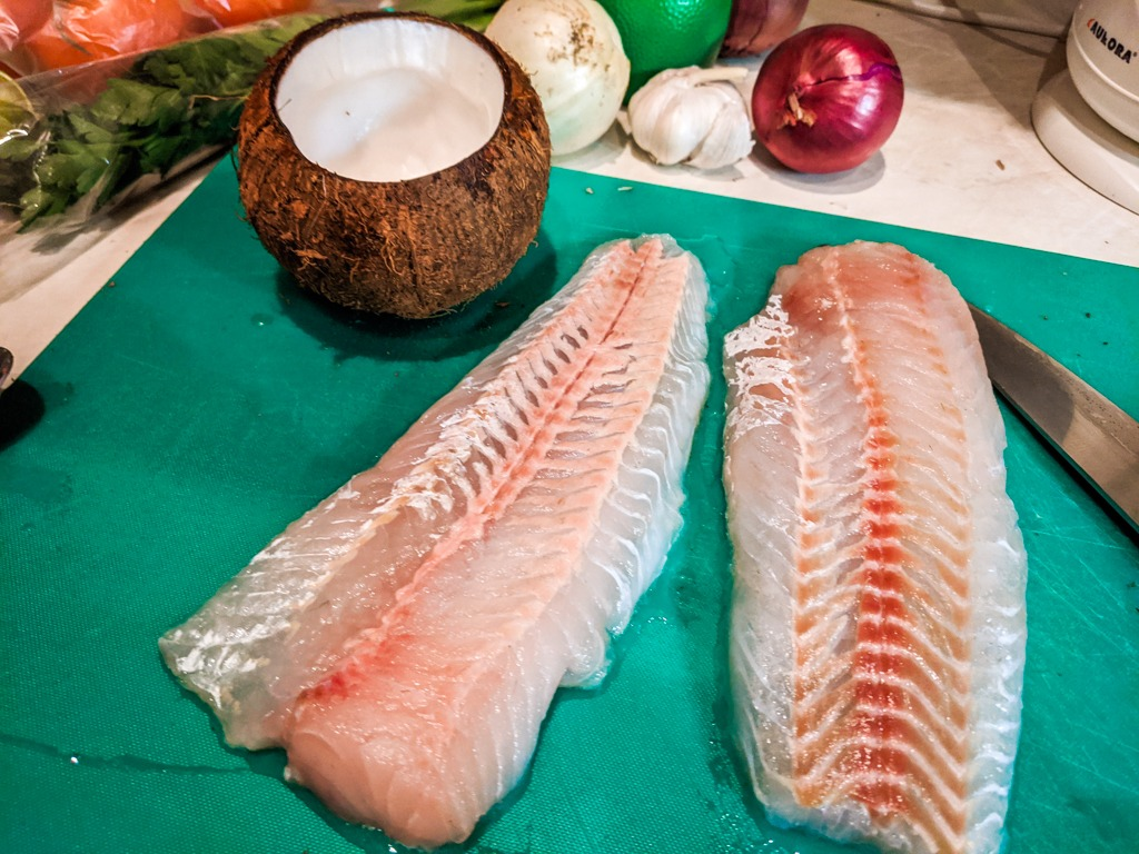 two large filets of hake whitefish and the rest of the ingredients in the back