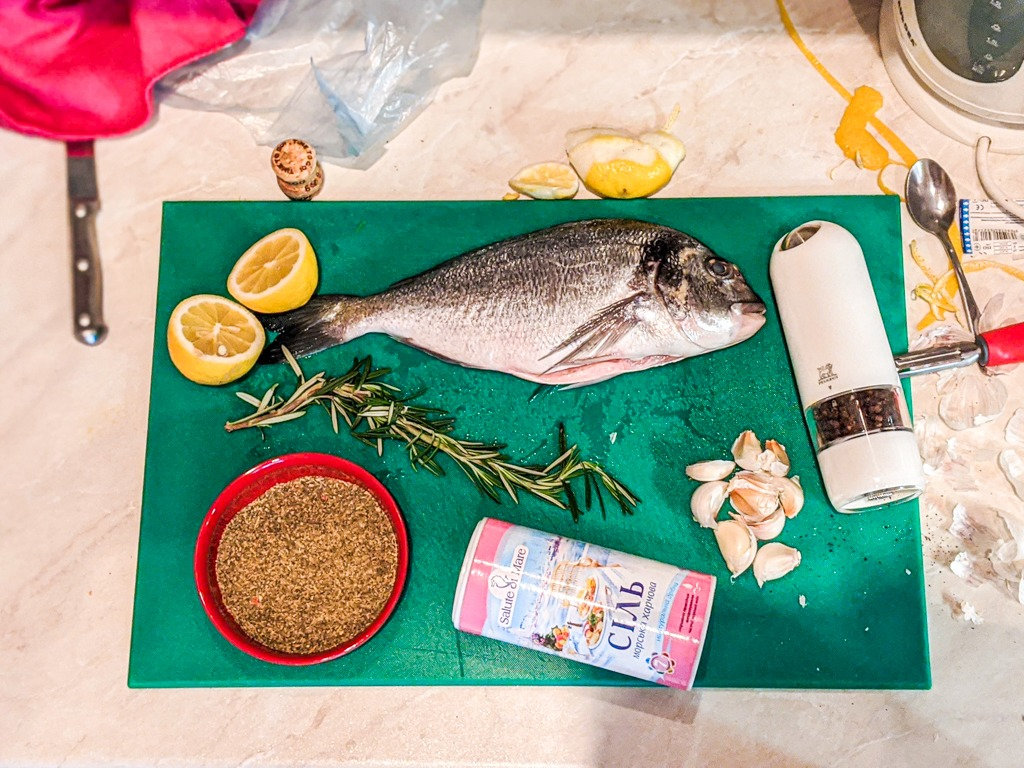 Everything you need ingredients for a Mediterranean baked sea bream