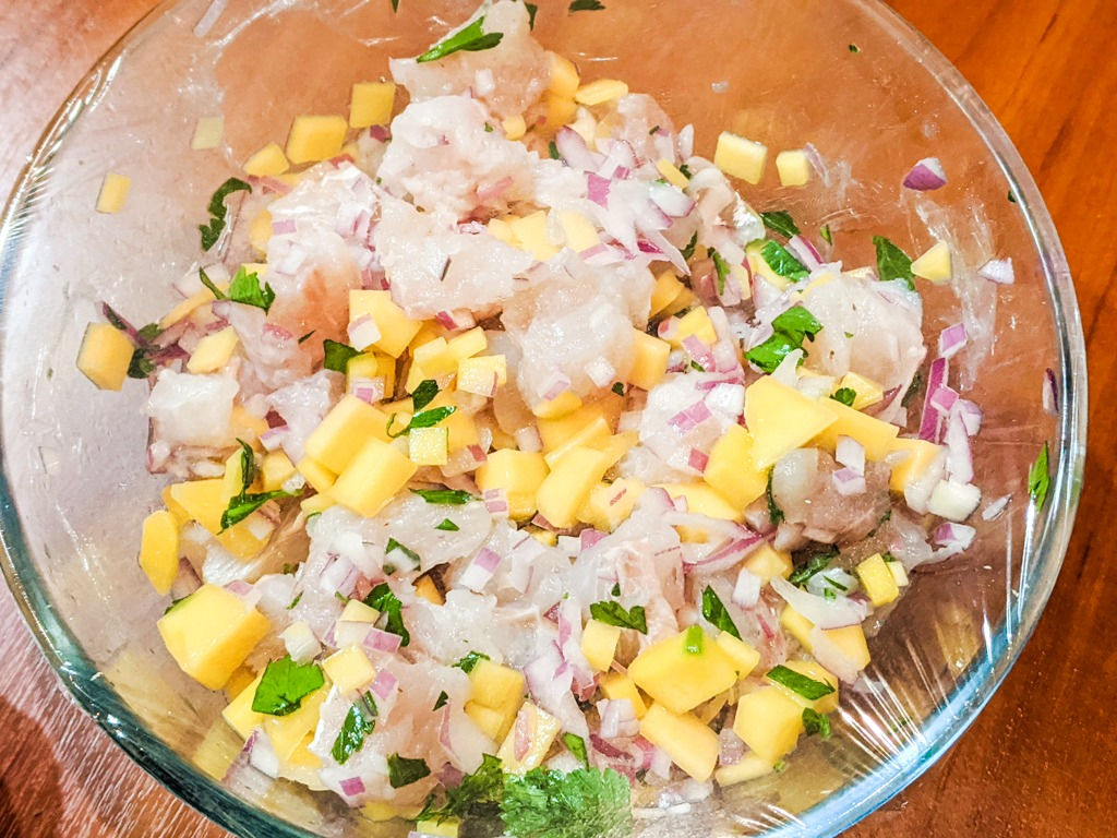 letting the mango coconut ceviche 'cook' in the lime juice acid