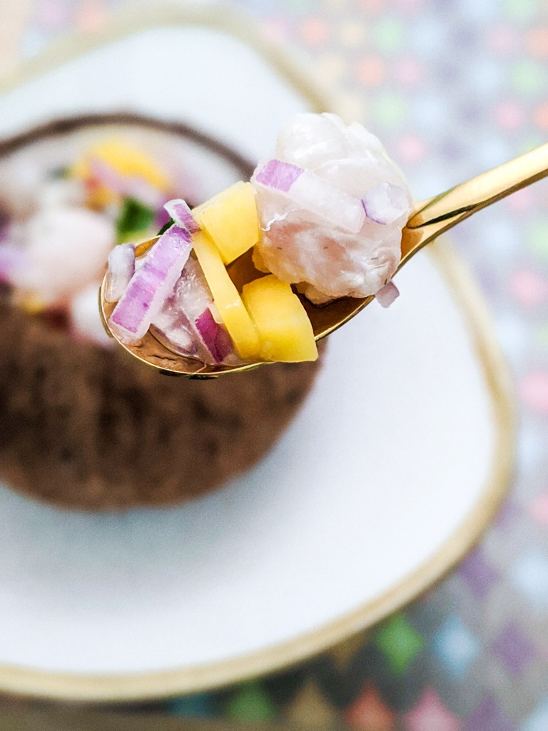 mango coconut ceviche spoon