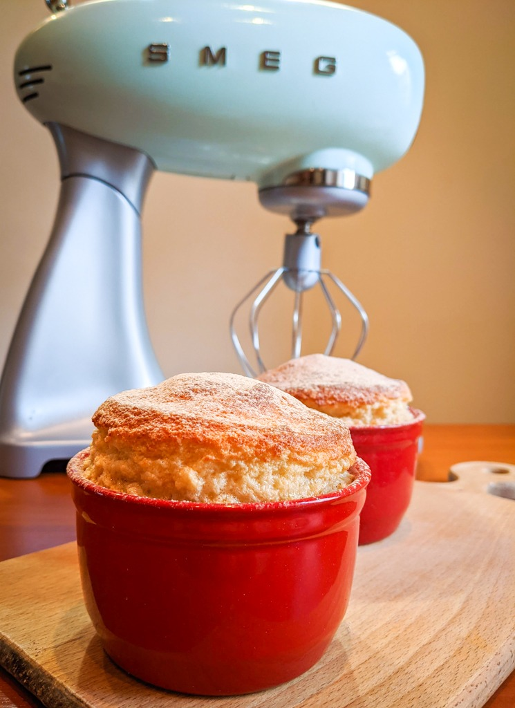 maple syrup souffle with smeg stand mixer in the back