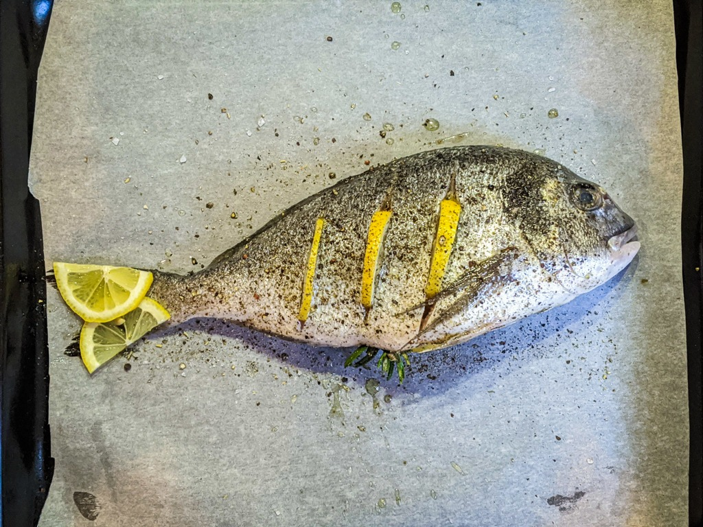 sea bream about to go into the oven