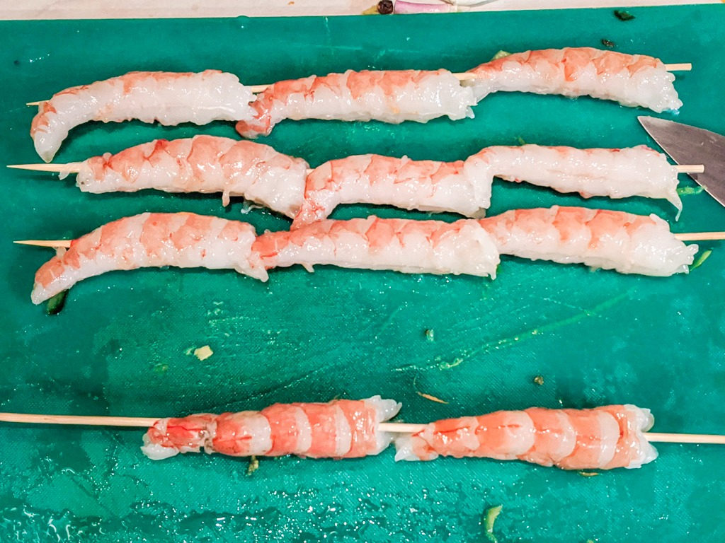 Shrimp on wooden skewers