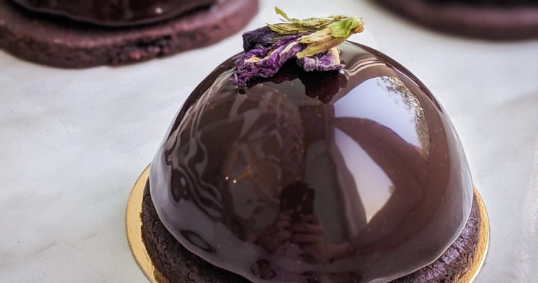 Butterfly Pea Flower Entremet With Chocolate Sable