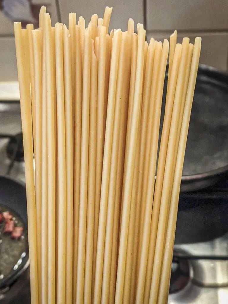 Bucatini pasta noodles