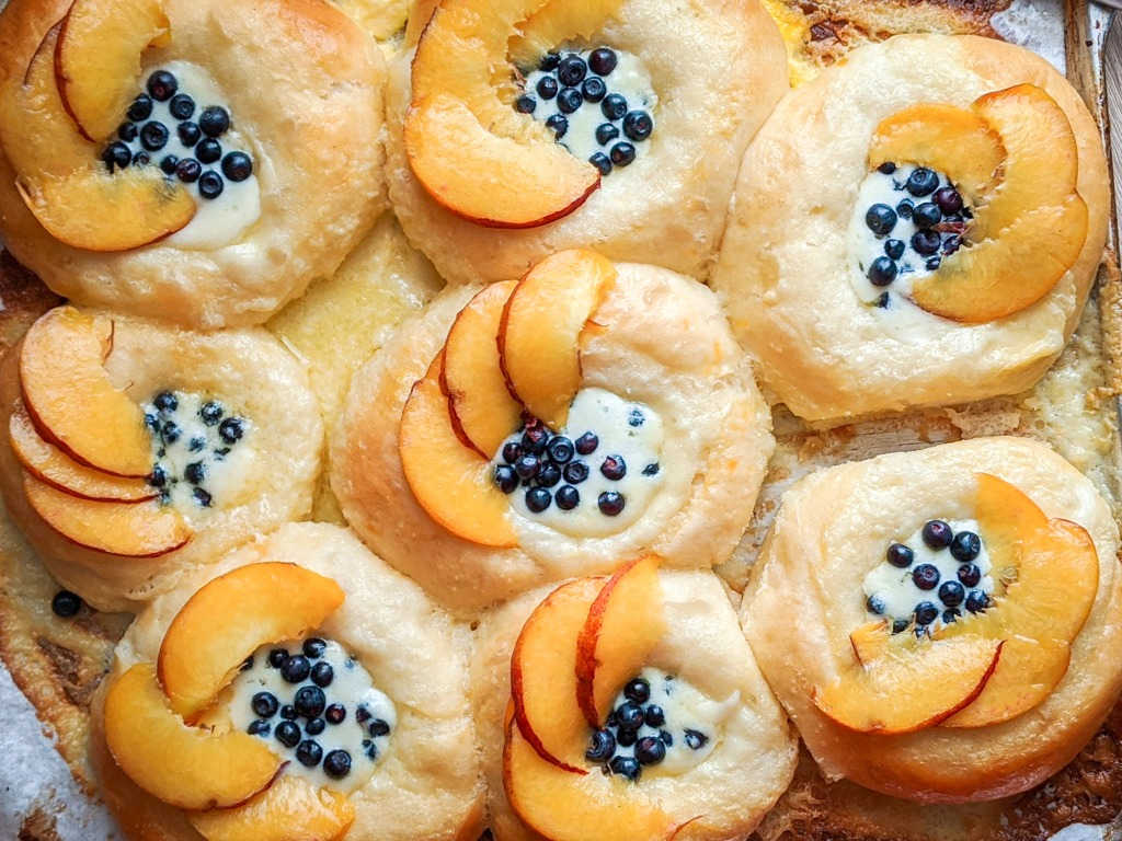 freshly baked Vatrushka (ватрушка) With Fresh Fruit