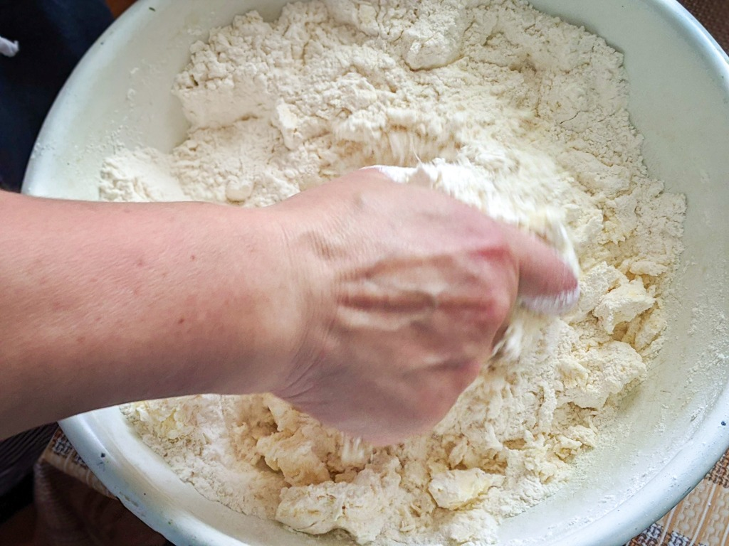 Making the cheesecake crust dough