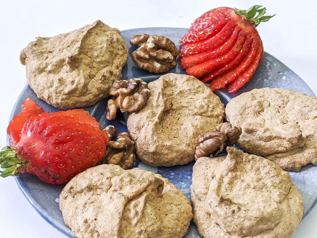 strawberry walnut meringue cookies