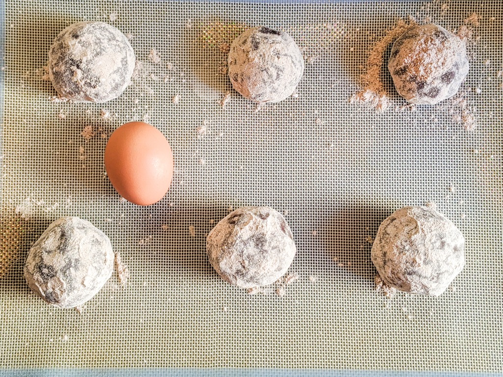 Mexican Hot Chocolate Cookies with an egg for size reference