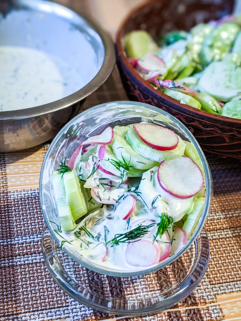 Cucumber Radish Salad With Dill Dressing