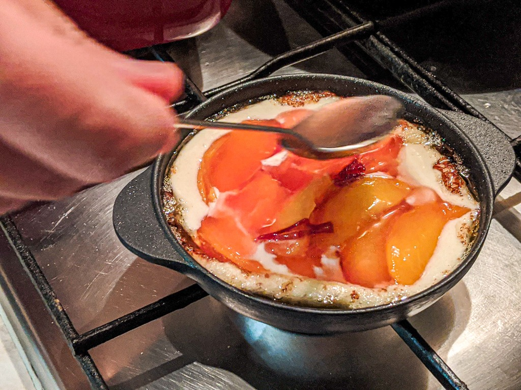 Mini Cast Iron Brown Butter Nectarine Cobbler with extra syrup