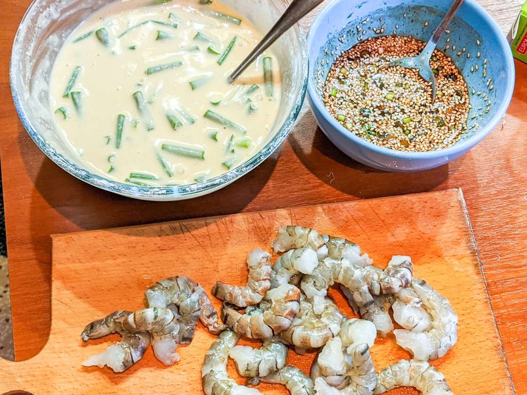 Korean Prawn Scallion Pancakes ingredients with dipping sauce