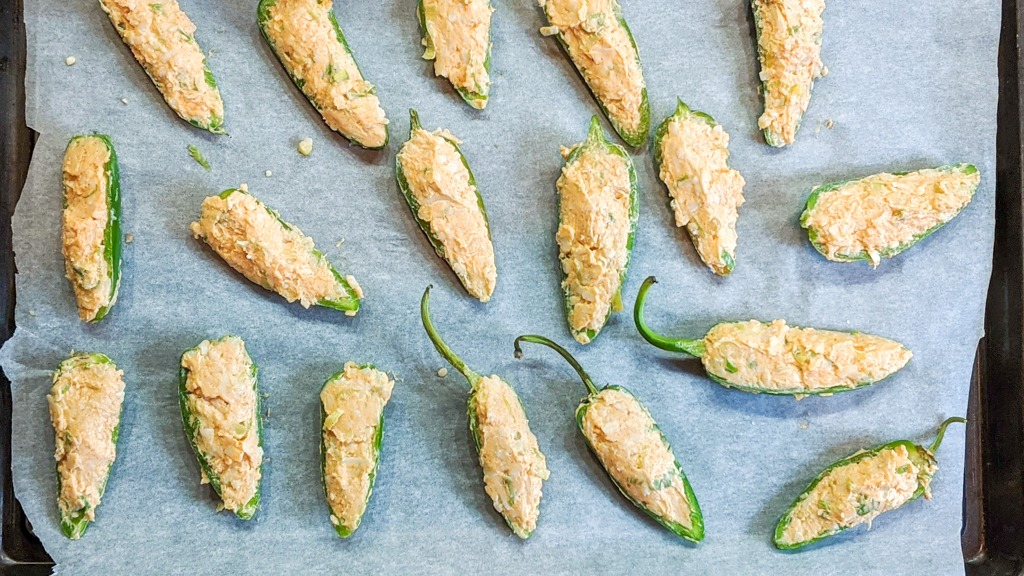 jalapeno slices filled with the goat cheese mixture