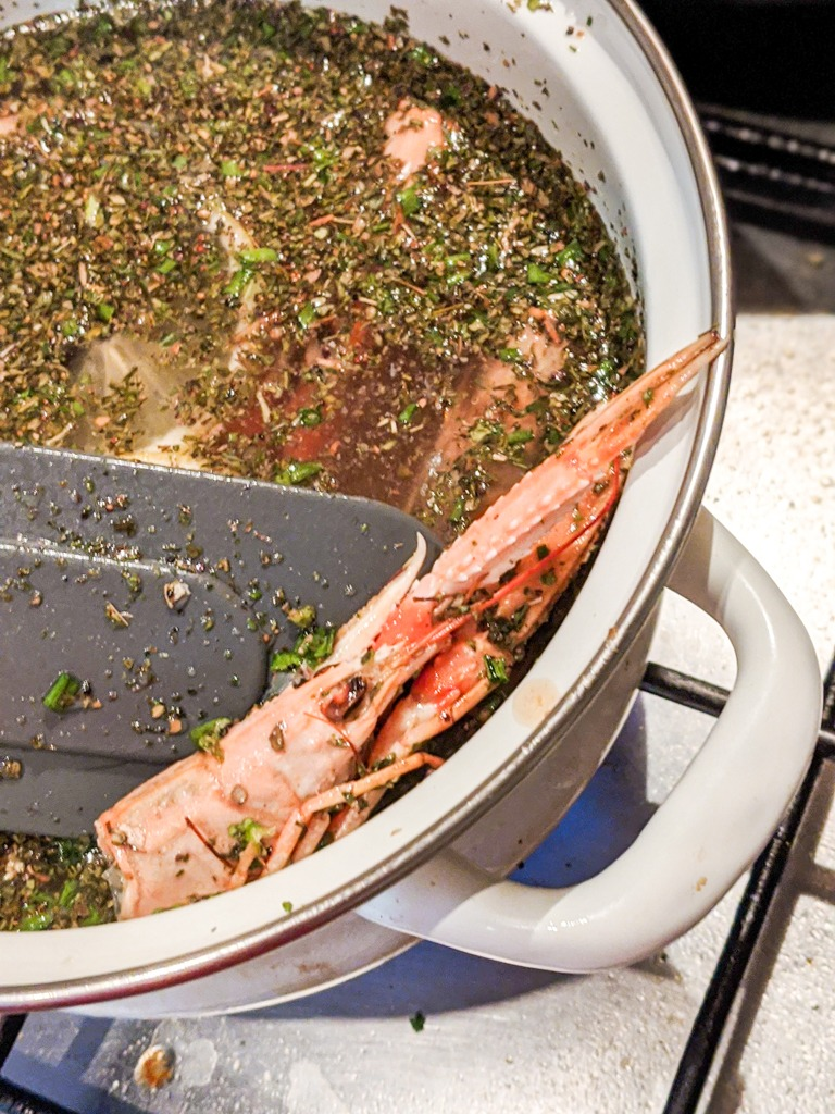 making langoustine stock for the risotto