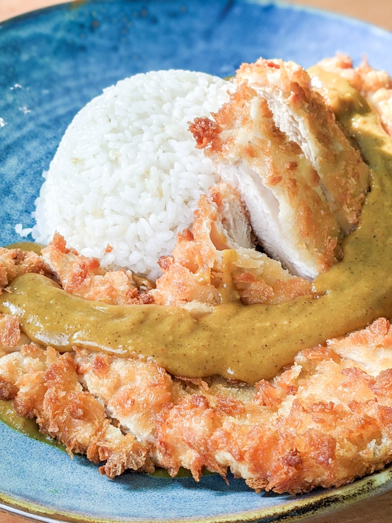 Chicken katsu curry with rice and Homemade Japanese Curry Roux