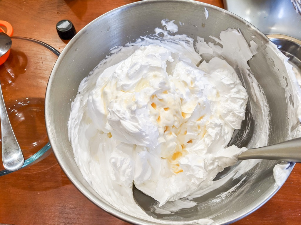 mixing the meringue