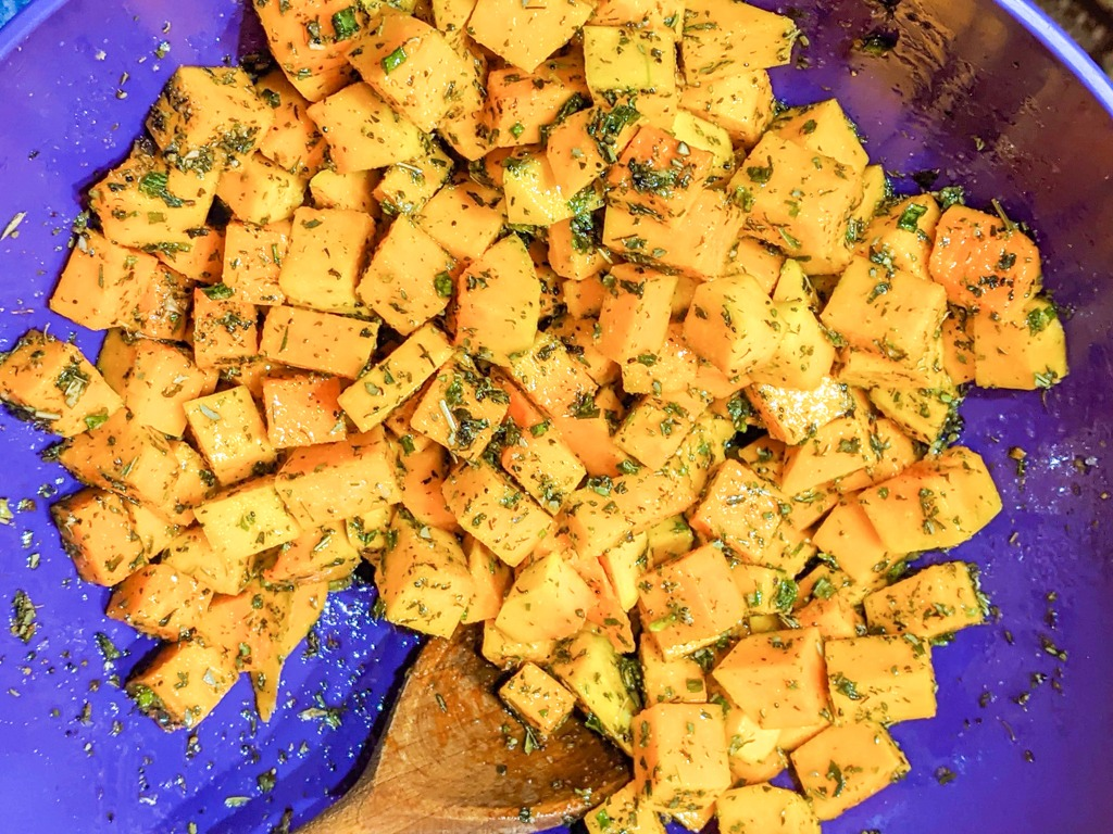 herbed and oiled butternut squash cubes