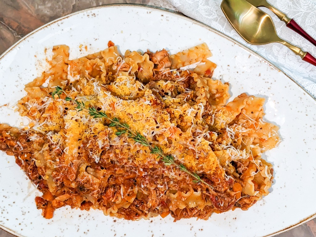 Rabbit Ragu With Mafaldine Pasta