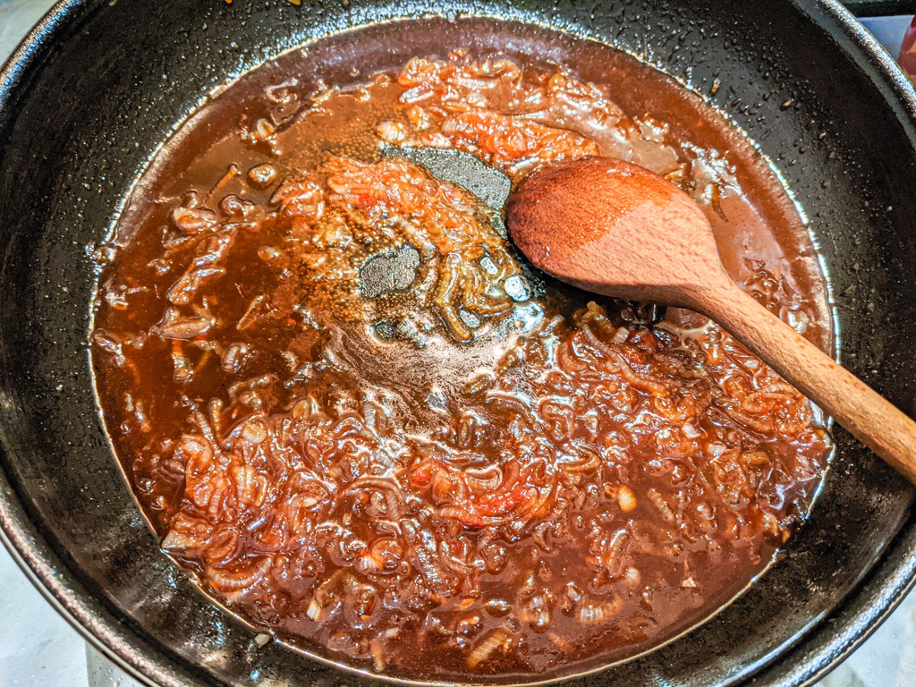 making the sauce for the Gochujang Soy Marmalade Sticky Chicken Thighs