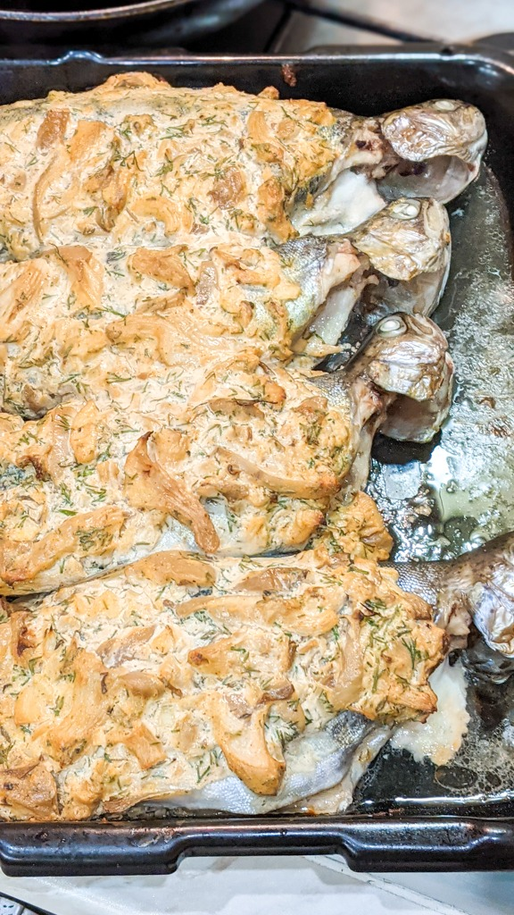 Carpathian Baked Trout Under Sour Cream And Mushrooms
