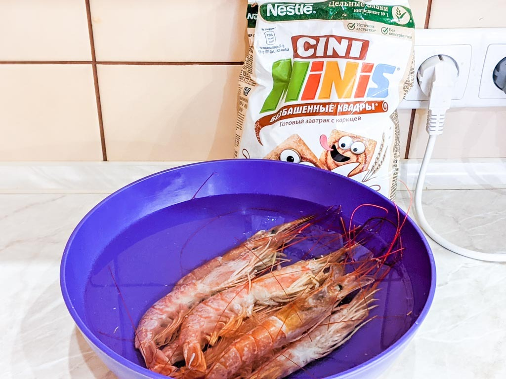 argentinian red shrimp with cinnamon toast crunch cereal