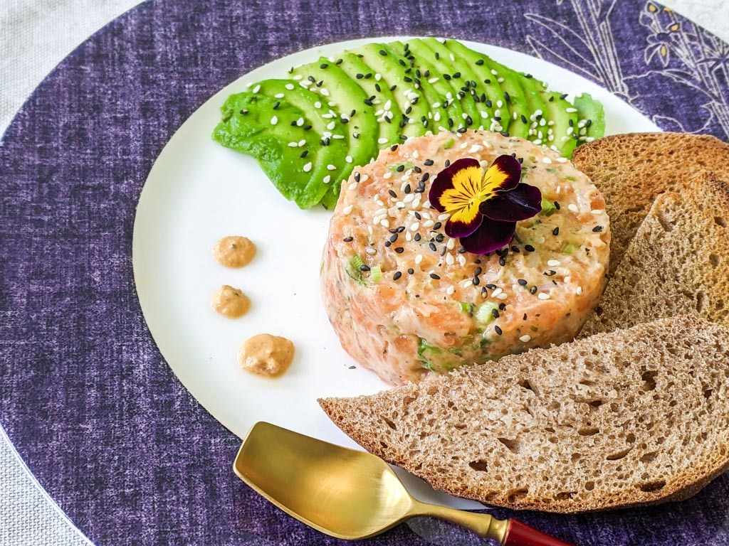 Arctic Char Tartare with bread and avocado