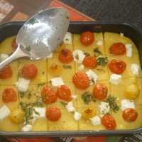 Polenta with Cherry Tomatoes and Feta