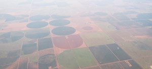 Lubbock, Texas area from the air, showing center pivot irrigation circles.