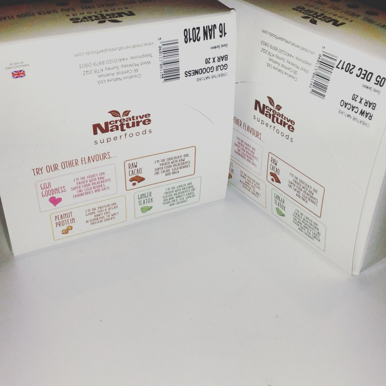 The white boxes have essential information about all four of the bars on with a little sticker to identify the contents.