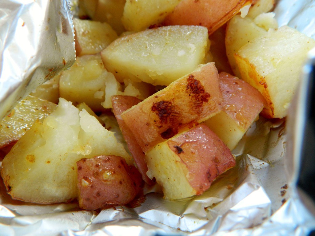 red potatoes in a foil packet