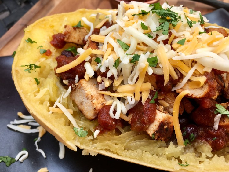Chipotle Chicken Spaghetti Squash Burrito Bowl - Cooking Up Happiness