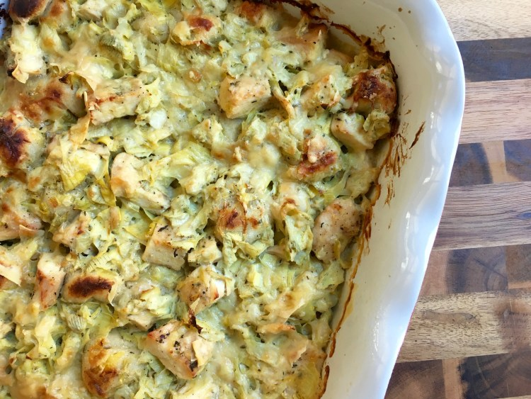 Chicken Artichoke Alfredo Casserole - Cooking Up Happiness