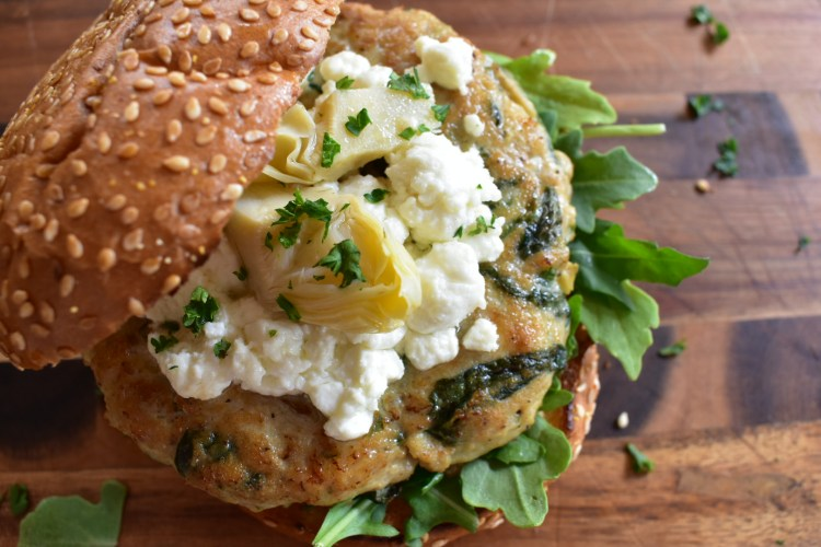Spinach and Artichoke Chicken Burger - Cooking Up Happiness