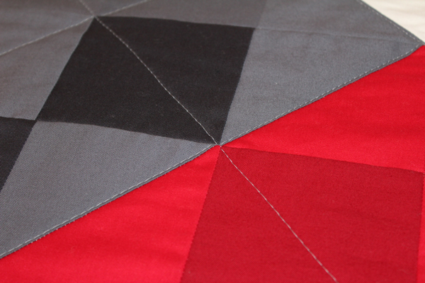 Close Up diagonal quilting lines