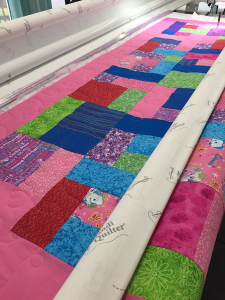Quilt loaded on Frame