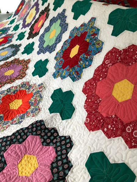 Finished Grandmothers Flower Garden Hexie Quilt